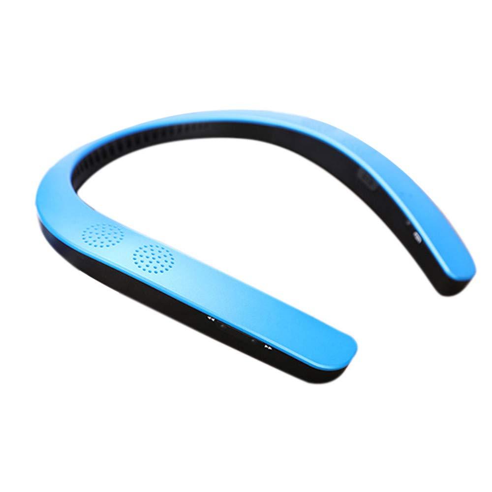 Sonmer Fashion Wireless Bluetooth 5.0 Neckband Stereo Sports HiFi Speaker, 3D Surround Sound,Support FM AUX SD USB (Blue)