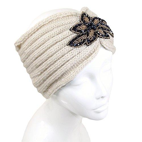 Me Plus Womens Winter Sequin Flower Knitted Headband Ear Warmern