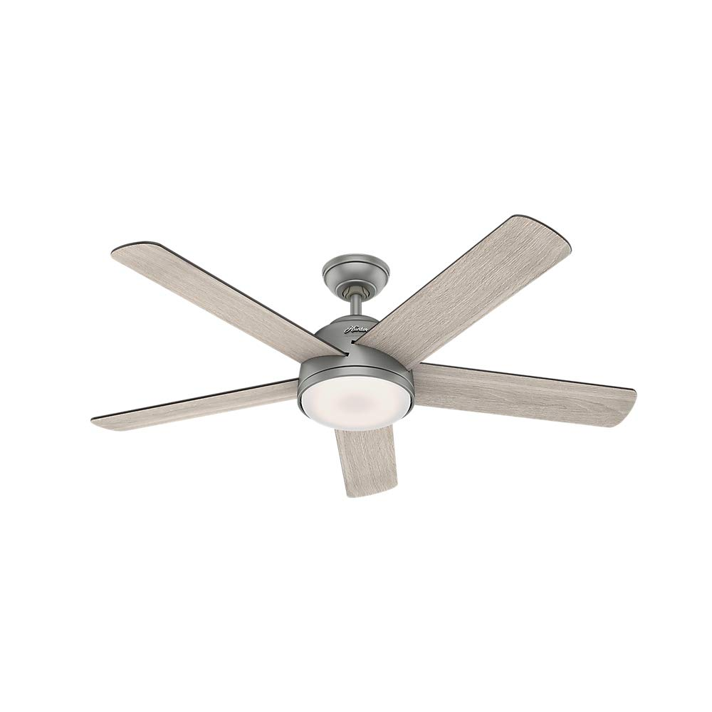 Hunter Indoor Wifi Ceiling Fan with LED Light and remote control - Romulus 54 inch, Matte Silver, 59480