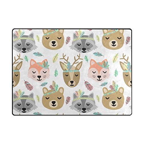 Vantaso Soft Foam Nursery Rugs Ethnic Deer Bear Fox Non Slip Play Mats for Kids Boys Girls Playing Room Living Room 63x48 inch