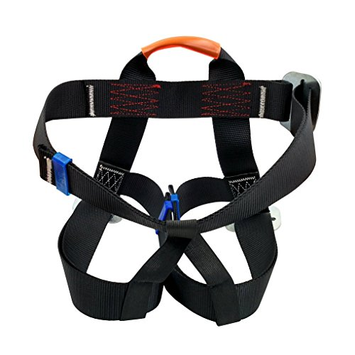 Aoneky Polyester Rock Climbing Harness, Best Outdoor Rappelling Safety Gear Set for Men (Black) by Aoneky