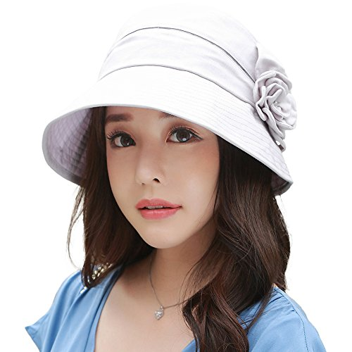 (Siggi UV50+ Linen/Cotton Summer Sunhat for Women Bucket Crushable Wide Brim Hats w/Chin Strap)