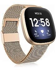Funbiz Metaal Bandje Compatibel met Fitbit Versa 3 Bandjes/Fitbit Sense Bandje, Roestvrijstalen Metaal Vervangende Polsband met Instelbare Lengte voor Dames Heren, Groot Koninklijk Goud