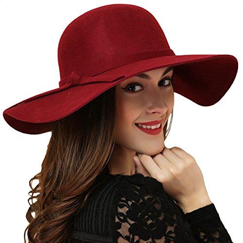 Promini Women's Fedora Hat Wide Brim Warm Wool - Red Hat Floppy