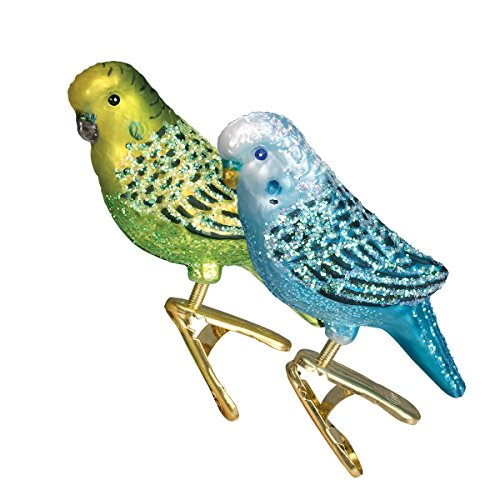 Old World Christmas Blown Glass Clip-On Ornament - Miniature Parakeet, Set of 2 (Bird Seed Christmas Ornaments)