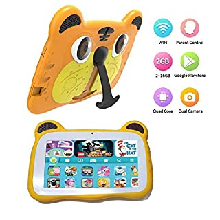 Tablet for Kids Android 9.0 Toddler Tablet Kids Edition Tablet 7 Inch Display with WiFi Dual Camera Childrens Tablet 2GB + 16GB Parental Control, Google Play Store