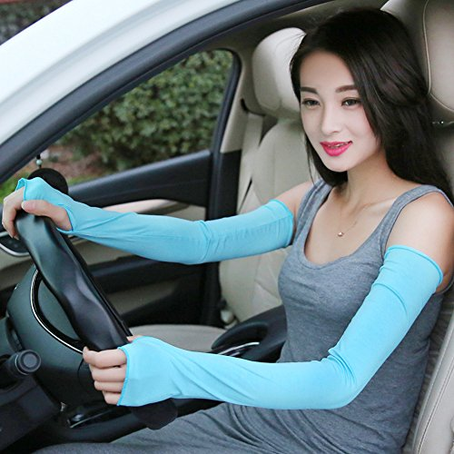 ZQXPP Women's Uv Protection Stretchy Super Long Arm Sleeve Driving Cycling Fingerless Gloves