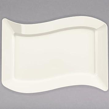 Pack de 10 - Elegantes platos de plástico duro ondulados rectangulares para servir - 6,5 x 10,5 pulgadas (16 x 25 cm) - Bono/Marfil: Amazon.es: Hogar