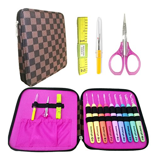 Lighted Crochet Hooks and Luxury Brown Case with Crochet Accessories - LED Lite Hooks - Ergonomic Grip Handles & Organizer. Color Coded Illuminated 9 Hooks for Arthritic Hands - Size 2.5mm To 6.5mm by Generic