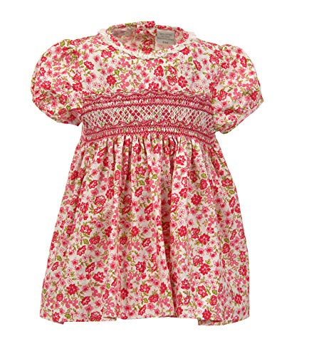 Carriage Boutique Baby Girls Pink Floral Dress - Hand Smocked