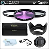 58MM Professional Accessory Kit for CANON EOS REBEL T5i T5 T4i SL1 T3i T3 70D Includes Filter Kit (UV, CPL, FLD) + Lens Hood + More (Fits 18-55mm, 75-300mm, 50mm 1.4 , 55-200, 55-250mm Canon Lenses)