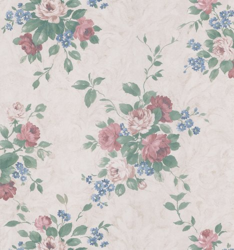 (Brewster 974-64549 Mirage Vintage Legacy III Damask Rose Wallpaper, 20.5-Inch by 396-Inch, Cream )