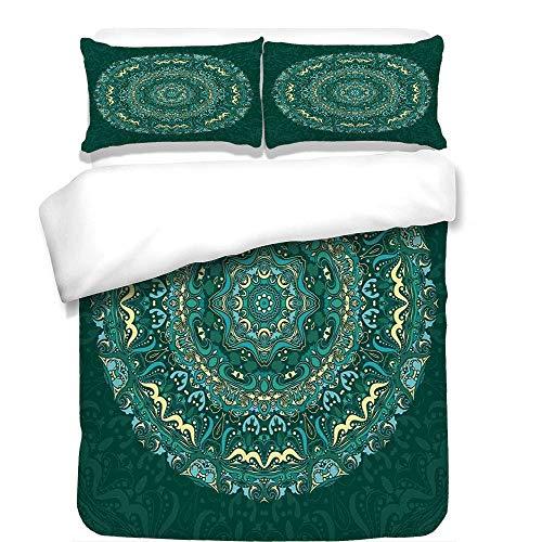 - VAMIX 3Pcs Duvet Cover Set,Mandala Decor,Religious Eastern Ancestral Circle Form with Swirling Leaves Revival Retro Design,Teal,Best Bedding Gifts for Family/Friends,