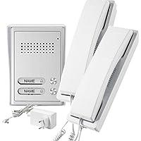 GEV 2-Familienhaus Audio-Türsprechanlage CAB 87354, 5 V, Silber Weiss