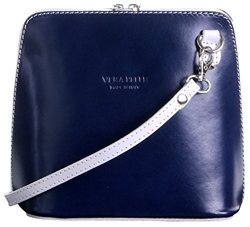 - Italian Leather, Navy Blue and White Small/Micro Cross Body Bag or Shoulder Bag Handbag. Includes Branded a Protective Storage Bag.