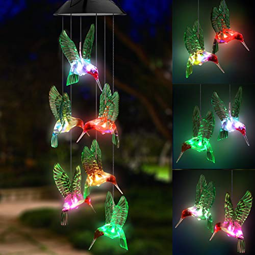 Capiz Suncatcher - Topspeeder LED Solar Hummingbird Wind Chime, Changing Color Waterproof Six Hummingbird Wind Chimes for Home Party Night Garden Decoration (Hummingbird)