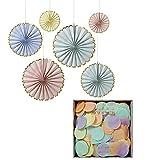 Meri Meri Party Pack Pastel Pinwheel Decorations and Pastel Confetti