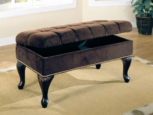 Dark Brown Microfiber Storage Bench with Nailhead Trim & Tufted Buttons!