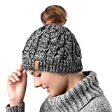 Women Hat Knit Skull Beanie Winter Outdoor Runner Messy Bun Ponytail Cap