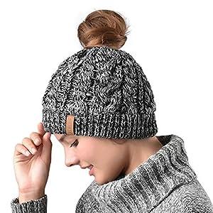 98f177a1f2677 Women Hat Knit Skull Beanie Winter Outdoor Runner Messy Bun Ponytail Cap