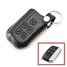 iJDMTOY Exact Fit Premium Black Leather Key Holder with Key Chain For 2010-2016 Land Rover 5-Button Key Fit Ranger Rover Sport, Range Rover, LR4, Discovery, Evoque, etc