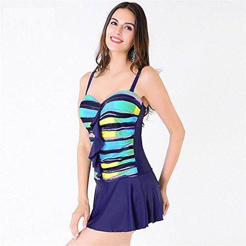 SHISHANG de las mujeres del bikini de una pieza del traje de baño del traje de baño de Europa y de las mujeres bikini de traje de baño de la falda de las mujeres americanas a prueba de agua Blue