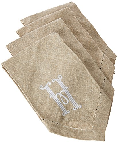 Mud Pie 4424000H Initial H Embroidered Cotton Napkins Set of 4, Oatmeal
