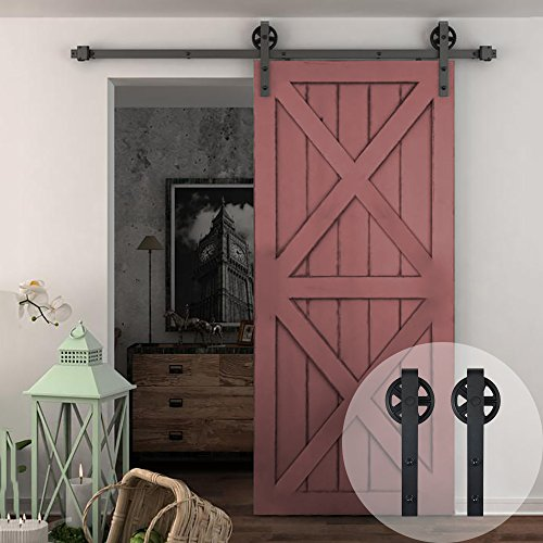 WINSOON 5-16FT Single Wood Sliding Barn Door Hardware Basic Black Big Spoke Wheel Roller Kit Garage Closet Carbon Steel Flat Track System (6FT)