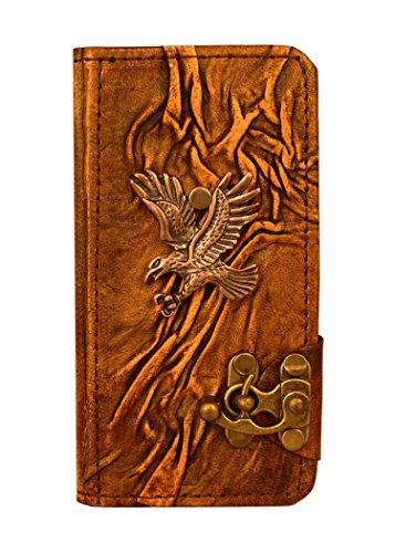 """A Little Present """", handgemacht, Vintage-Stil, Diving Adler Anhänger"""" Leder-Klappetui (mit Schloss für iPhone 6, Braun"""