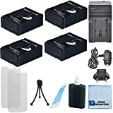 4 Batteries 1600 mAh f GoPro Hero3 Hero3+ Camera - AHDBT-301 AHDBT-302 + Black Edition - GoPro 3+ Silver Edition - GoPro 3 White Edition Camera + AC DC Turbo Charger with Travel Adapter by eCost