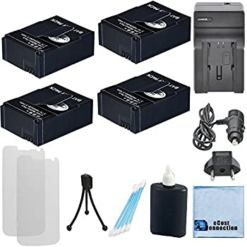 4 GoPro Hero3, Hero3+ High-Capacity Replacement 1500mAh Batteries | AHDBT-201, AHDBT-301, AHDBT-302 + AC/DC Turbo Charger with Travel Adapter + Complete ...