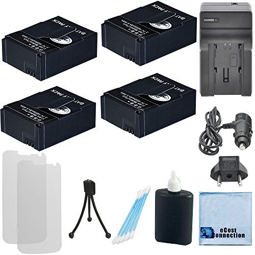 4 Batteries 1600 mAh f/ GoPro Hero3/Hero3+ Camera, AHDBT-301/AHDBT-302 + Black Edition, GoPro 3+ Silver Edition, GoPro 3 White Edition Camera + AC/DC Turbo Charger with Travel Adapter by eCost