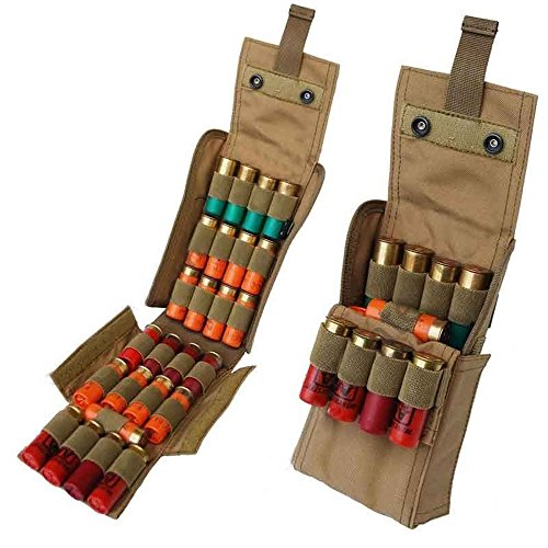 Kosibate 25 Round Shotgun Shotshell Reload Holder Molle Pouch for 12 Gauge/20G (Tan)