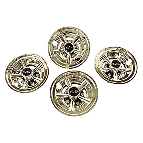 26c6d3bc453 Image Unavailable. Image not available for. Color  Set of 4 Golf Cart  Universal 8 quot  Chrome Hub Caps Wheel Covers-Fast