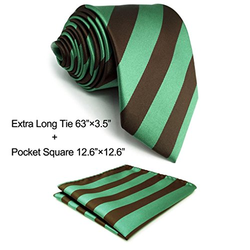 Green Stripe New Designer Necktie (Shlax&Wing New Stripes Brown Green Mens Ties Business Necktie Fashion XL Extra Long)