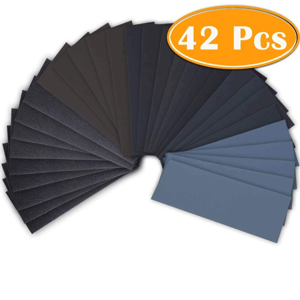 42 Pcs Wet Dry Sandpaper 120 to 3000 Grit Assortment 9 3.6 Inches Abrasive Paper Sheets for Automotive Sanding Wood Furniture Finishing 515727WmCHL