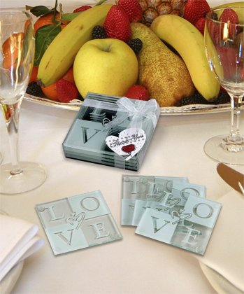 Set of 4 Glass L O V E Coasters (Wedding Coasters Love Glass)