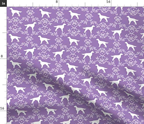 Spoonflower Irish Setter Fabric - Dog Irish Setter Dogs Pet Pets Dog Breed Floral Silhouette Pet Portrait Gift by Petfriendly Printed on Petal Signature Cotton Fabric by The Yard