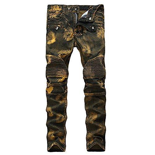 Enrica Men's Golden Vintage Slim fit Biker Jeans Runway Skinny Moto Jeans Pants for sale