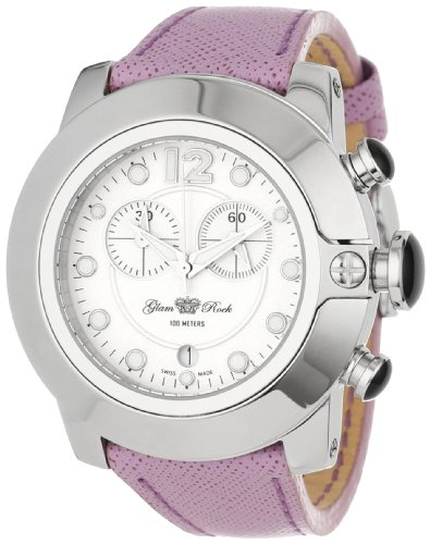 Glam Rock Women's GR32182-DEBZ So-Be Mood Chronograph White Dial Purple Leather Watch
