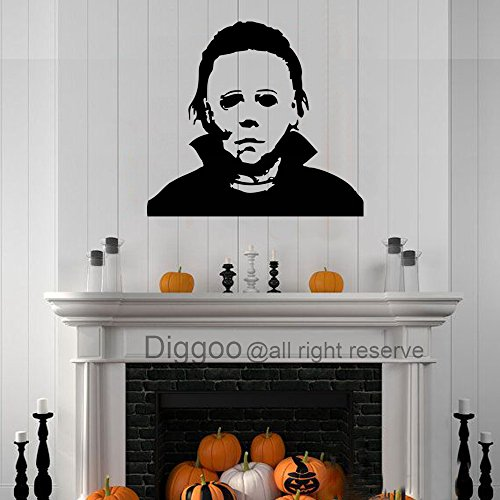 Michael Myers Wall Decal Halloween Vinyl Wall Decor Horror Party Decal(Black,xs)