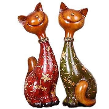 Estilo europeo casa decoraciones suaves artesanías de resina parejas gatos prácticos regalos de boda muebles nueva decoración del hogar: Amazon.es: Hogar