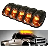 5pcs Black Smoked Lens Amber LED Cab Roof Marker Lights, KOMAS Roof Top Lamp Clearance Running Light Replacement + T10 Set for Truck SUV For 2003-2012 Dodge Ram 1500 /2500 /3500/ 4500 /5500