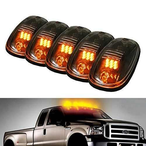 5pcs Black Smoked Lens Amber LED Cab Roof Marker Lights, KOMAS Roof Top Lamp Clearance Running Light Replacement + T10 Set for Truck SUV For 2003-2012 Dodge Ram 1500 /2500 /3500/ 4500 /5500 (Light Cab Roof Lenses Smoked)