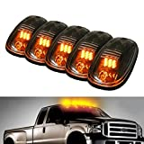 5pcs Black Smoked Lens Amber LED Cab Roof Marker Lights, KOMAS Roof Top Lamp Running Light Replacement + T10 Set for Truck SUV for 2003-2018 Dodge Ram 1500/2500/3500/4500/5500