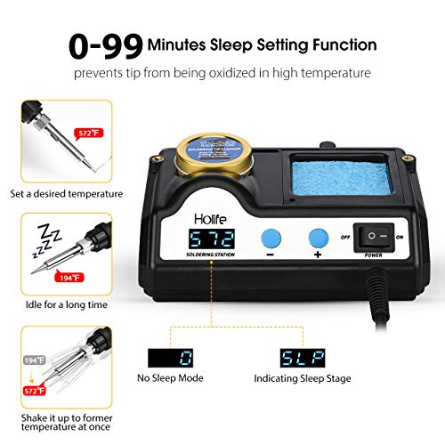 HoLife Digital Display 60W Soldering Iron Station with 5 Extra Soldering Tips, Sleep Function, Constant Temperature Control, C/F Switch, Solder Roll Holder, Brass Tip Cleaner, Sponge by HOLIFE (Image #2)