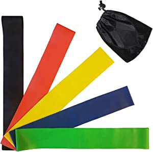 Resistance Loop Exercise Bands, Resistance Bands for Strength Training, Physical Therapy, Yoga, Pilates, at-Home Fitness or The Gym Workouts, Set of 5