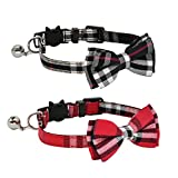 CHUKCHI 2 Pack Set Cat Collar Breakaway with Cute Bow Tie and Bell for Kitty and Some Puppies - Adjustable from 7.8-10.5 Inch (Black+Red)