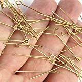 Laliva 100pc. Raw Brass Eye Pins, Findings. (20-80x0.7mm) Choose - (Color: 60mm)
