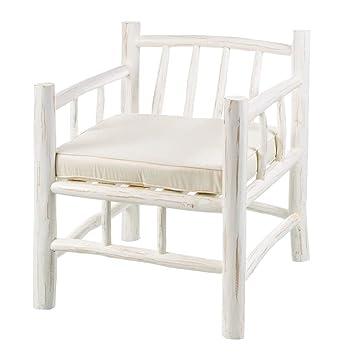 Sillón Blanco de Teca de diseño rústico para salón Vitta ...